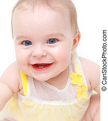 Cute laughing baby girl isolated on white