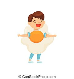 Cute laughing boy wearing fried egg costume. Cartoon character of cheerful kid. Halloween outfit. Flat vector design