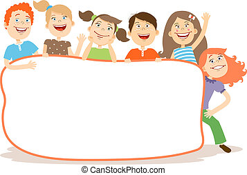 Cute laughing happy young kids around a blank white placard with copyspace for your text or advertising vector illustration on white