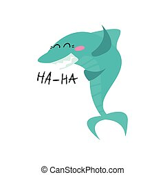 Cute laughing shark cartoon character, funny blue fish vector Illustration