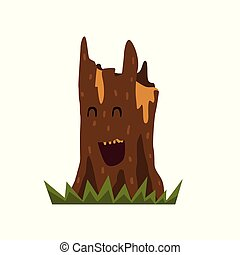 Cute laughing tree stump character with funny face vector Illustration on a white background