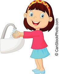 cute, lavando, dela, mãos, menina, caricatura