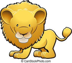 cute, leão, ilustração, vetorial