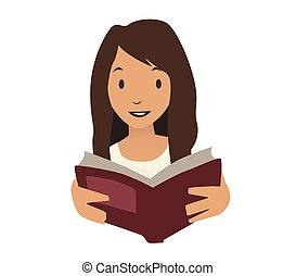 cute, leitura menina, um, book., mulher jovem, portrait., ilustração, isolado, branco, experiência.