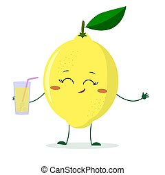 Cute lemon cartoon character holding a glass with juice.