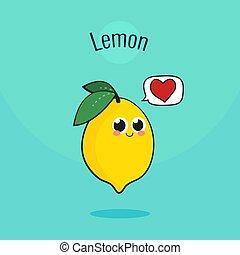 Cute Lemon Fruit Character. Cartoon vintage vector illustration.