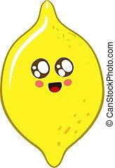 Cute lemon, illustration, vector on white background.