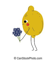 Cute Lemon Standing with Bouquet of Flowers, Cheerful Citrus Fruit Character with Funny Face Vector Illustration