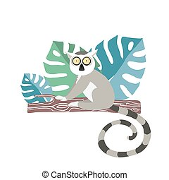 Cute lemur drawn in cartoon style by hand sitting on a tree branch in the jungle.
