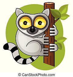 Cute lemur on the branch vector illustration