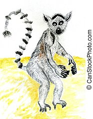 Cute Lemur Watercolor