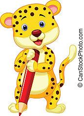 cute, leopardo, caricatura, segurando, vermelho, pe