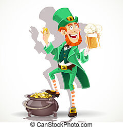 Cute Leprechaun drinking beer and protects pot of gold coins