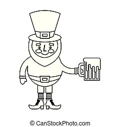 cute leprechaun holding cold beer drink