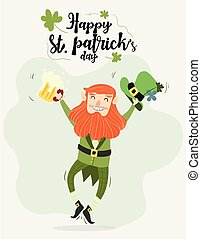 cute leprechaun with beer and pipe