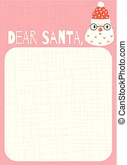 Cute letter to Santa Claus template in cartoon style in pink and red colors