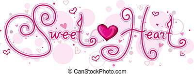Cute Lettering Featuring the Word Sweetheart