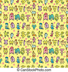 cute letters seamless pattern - cute letters seamless...