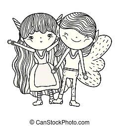 cute, liden, fairies, par, bogstaverne