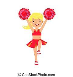 cute, liden, farverig, dansende, karakter, illustration, vektor, lys, cheerleader, pige, cartoon, rød, pompoms.