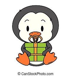 cute, liden, karakter, pingvin