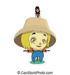 cute, liden, scarecrow, illustration