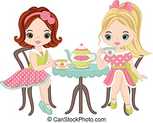 cute, liden, te, piger, vektor, har
