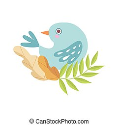 Cute Light Blue Bird Sitting on Branch of Tree, Symbol of Spring Vector Illustration