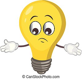 cute light bulb character.cartoon vector illustration.