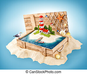 Cute lighthouse on the island in opened wooden box on a pile of sand