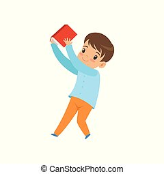 Cute liitle boy with book, kid playing and learning vector Illustration on a white background