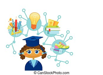 Cute Liitle Girl Weating Graduation Cap And Gown Happy Cartoon Kid Scientist