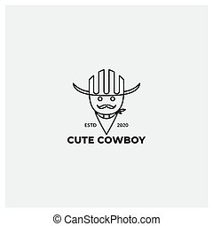 cute  line cowboy with mustache logo design