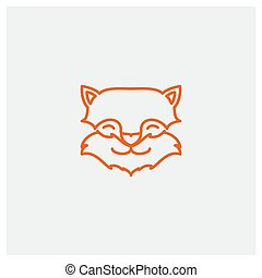 cute line fox head face logo design