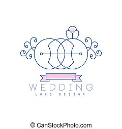 Cute line logo design abstract floral ornament with rings