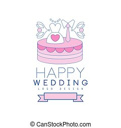 Cute line logo design with cake, dress and tie on the top