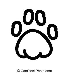 Cute lineart animal paw pad cartoon doodle clip art. Hand ...