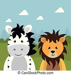 cute lion and zebra in the field landscape character