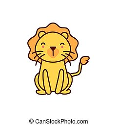 cute lion animal comic character