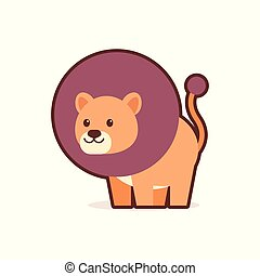 cute lion cartoon comic character with smiling face happy emoji anime kawaii style funny animals for kids concept