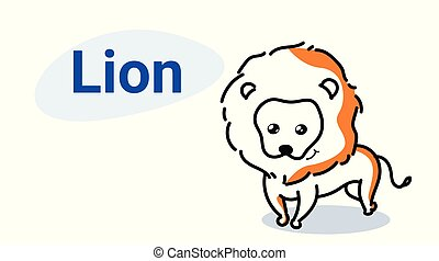 cute lion cartoon comic character with smiling face kawaii hand drawn style funny animals for kids concept horizontal