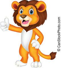 Cute lion cartoon giving thumb up
