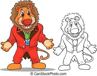 Cute lion cartoon mascot