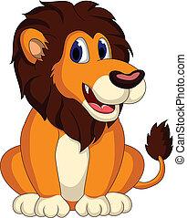cute lion cartoon sitting