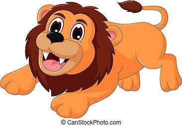 cute lion cartoon smiling