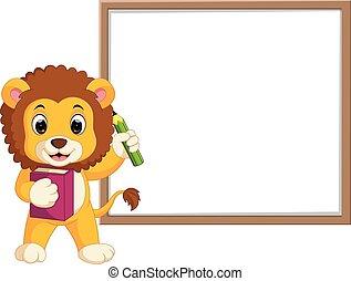 cute lion cartoon with whiteboard