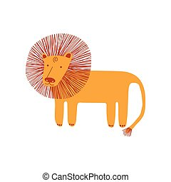 Cute Lion, Design Element Can Be Used for T-shirt Print, Poster, Card, Label, Badge Vector Illustration
