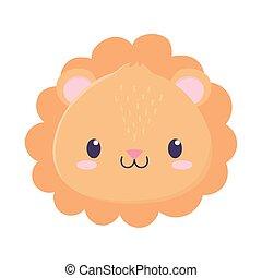 cute lion face animal cartoon isolated icon