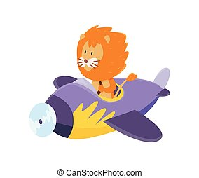 Cute lion flying an airplane. Funny pilot flying on planes. Cartoon vector illustration isolated on a white background