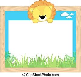 cute lion frame